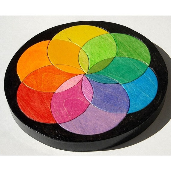 The Color Wheel Puzzle  Waldorf Toy - Wooden Childrens Puzzle - Color Matching Game - Rainbow Puzzle Wheel