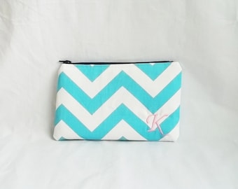 Embroidered Makeup bag - Personalized Chevron Pouch - Bridesmaid clutches - Medium