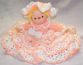 1980's Handmade Crochet Bed Doll Yarn Hair Peach Taffy