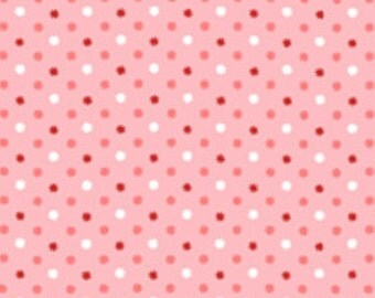 Polka Dot Starburst Fabric - Annie's Library Pixie Dot Fabric by Lakehouse Dry Goods LH10083 Pink - 1/2 yard