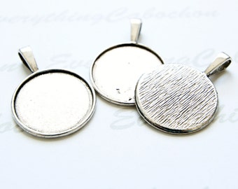 20 pcs Antique Silver Round Cabochon Setting, Pendant Bezel Tray, Inner tray 25mm/ 1 Inch