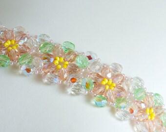Flower Bracelet in Light Peach & Green FP Beads, Peach and Yellow Seed Beads - Seed Bead Bracelet - Spring Jewelry - Floral Bracelet