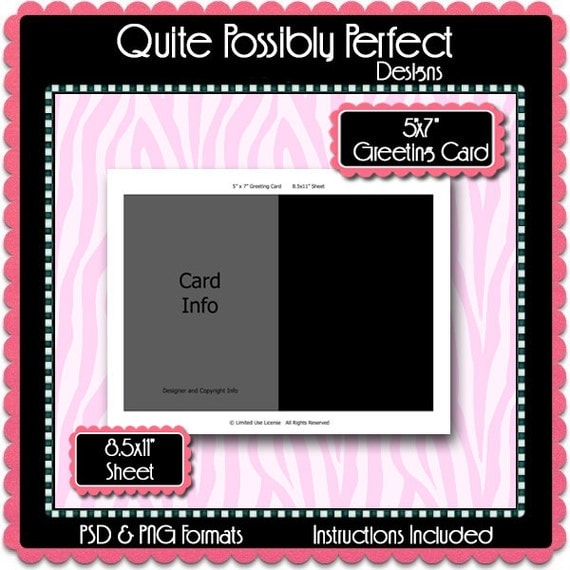 5x7 greeting card template instant download psd and png. Black Bedroom Furniture Sets. Home Design Ideas