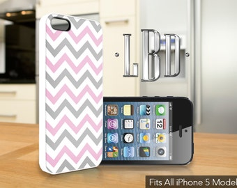 iPhone 5 / 5c / 5s Case  - Chevron Pattern Grey and Pink  Cover iP5