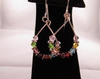 Multi Color Swarovski Crystal Hand Made Hoop Earrings