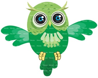 green owl clipart digital clipart - Cute Owl Digital Clip Art - owl digital clip art- Personal and Commercial Use