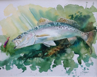 Fine art print of speckled trout watercolor painting by Patrick Soper