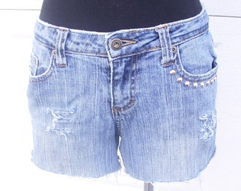 Distressed Denim Shorts, Grunge Jean Shorts, Studded Shorts, Light Wash Denim, Low Rise Cutoffs, Hipster Cothing, Size 3/4