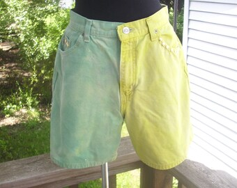 High Waisted Denim Shorts, Studded Jean Shorts, Green & Yellow Shorts, Hipster Denim Shorts, Indie Clothing, Dip Dyed Shorts, Size 10