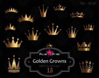 crown clipart, crown clip art, crown silhouette, digital clipart, golden crowns, royal clipart