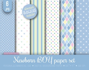 8.5 x 11 Newborn Baby Shower Boy Digital paper, 8.5 x 11 print, baby paper, baby boy paper, newborn boy paper, blue baby boy, printable