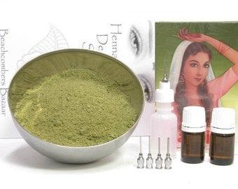Beachcombers Natural BAQ Jamila Powder Henna Mendhi Tattoo Starter Kit 100 gm Powder, Oils, Applicator Bottle, Book