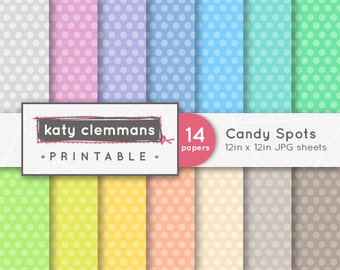 CANDY SPOTS digital paper pack, scrapbook printable sheets - instant download.