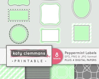 PEPPERMINT LABELS digital clip art with digital paper pack. Printable label images, patterns, scrapbook art - instant download.