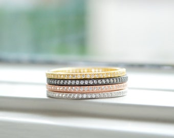 Set of 5 Layered Gold Ring - Rose Gold Ring - Sterling Silver Ring - Sterling Silver Stacked Ring - Micro Pave Ring