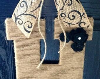 Twine Monogram- Wedding Decor- Monogram Wreath- Front Door Monogram- Door Hanger- 13.5'''