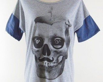 Skull Tshirt skull design skull shirt women shirt women tee shirts women top crop top tunic top size M