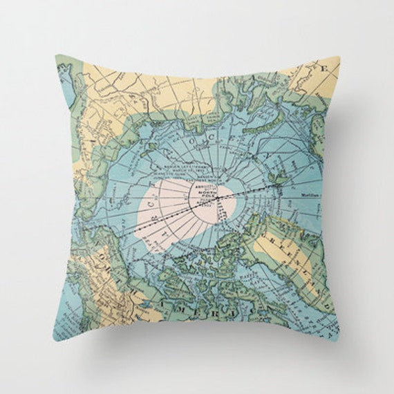 Arctic Circle Vintage Map Pillow - Throw Pillow, Decor, Vintage Maps, travel, unique, Pastel blue, green, yellow, home decor