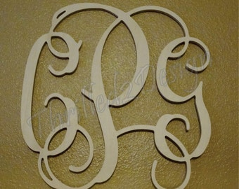 14 inch OUTSIDE Vine Connected Wooden Monogram Letters- Wedding, Home, Nursery