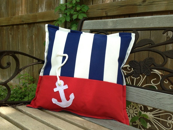 Outdoor Pillow Nautical Anchor In Blue And White