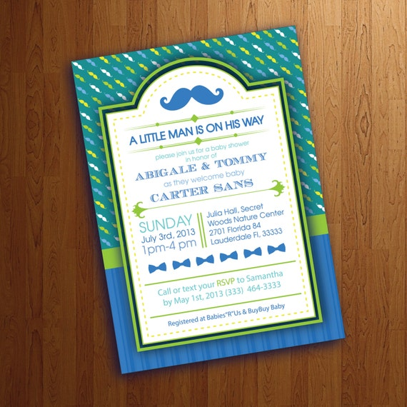 items similar to mustache and bow tie baby boy shower invitation on