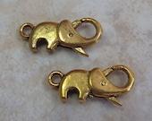 23x10mm (3mm hole) Antique Gold Finish Raised Trunk Elephant Clasps - (I57)