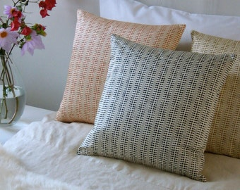 16x16 pillow cover decorative throw pillows black dots on cream silk dupioni