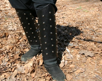 Leather Studded Leg Greaves LARP Cosplay