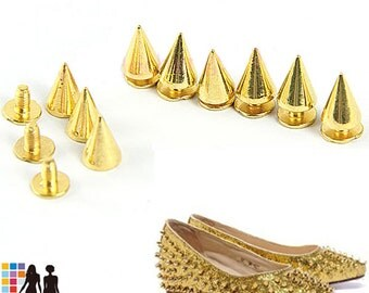"""Gold 10mm Cone Bullet  Metal Spikes Studs 3/8"""" Screw back For Leather crafts 10/30/50/100/500/1000 pcs FREE SHIPPING"""