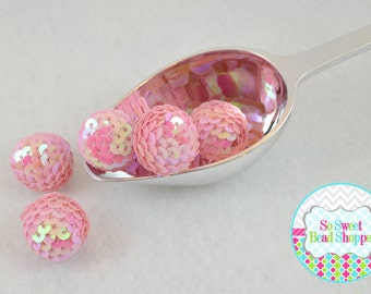 22mm Acrylic Sequin Beads, 6ct, Light Pink, Gumball Beads, Round