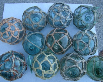 "Lot of 5 ~ 3"" Japanese Glass Fishing Floats - With Netting ~ Old Vintage Japan Buoy - Nautical Maritime"
