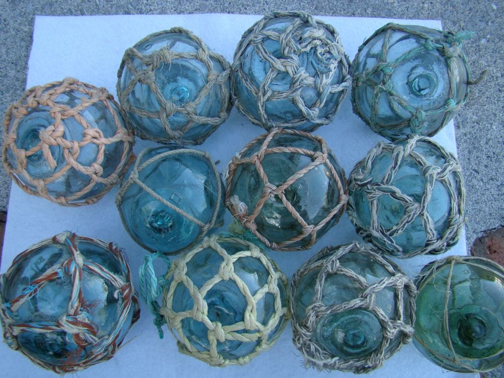 Lot of 5 3 japanese glass fishing floats with for Japanese fishing floats