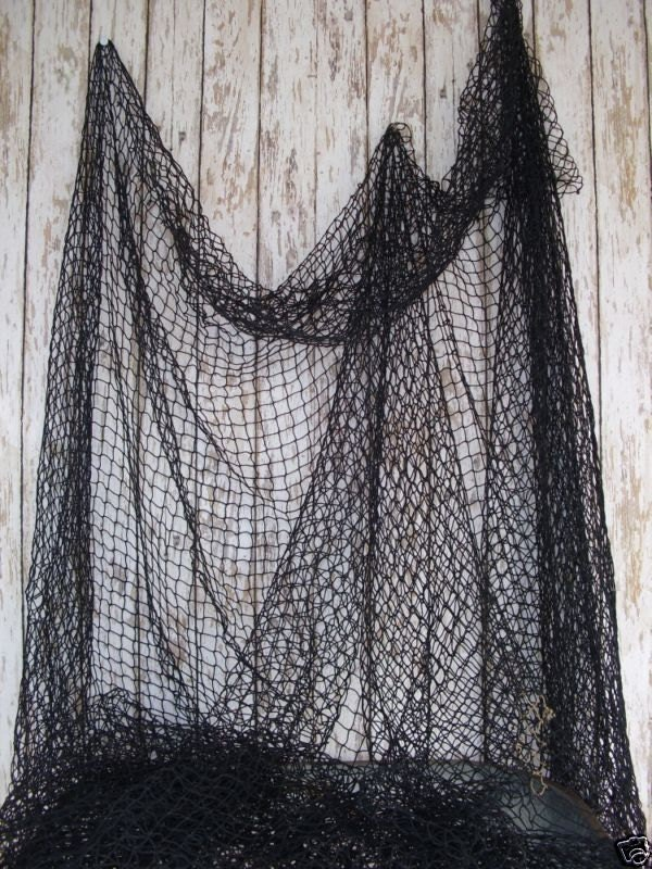 Old used fishing net black 10 ft x 10 ft vintage fish for Decorative fishing net
