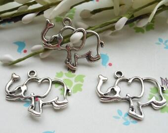 SALE--20 PCS 30x21mm Lovely Elephant Charm Pendant --Antique Silver