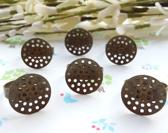 SALE--100 pcs- Adjustable Bronze Ring Base  with 16 mm Round Pad