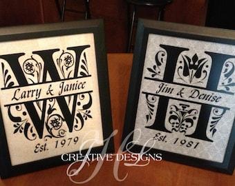 Decorative Framed Split Letter