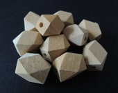 20 Pcs 17x12mm  Oblong Unfinished Faceted Natural Wood Beads   (W174)
