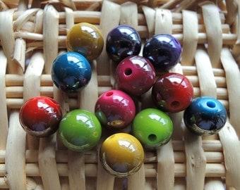 50Pcs  Mixed Color Metallic Acrylic Beads -10mm (S108)