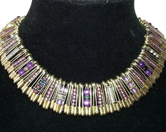 Safety Pin Necklace in Purple