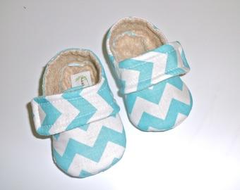 JADEN Baby Boy Shoes. Blue chevron