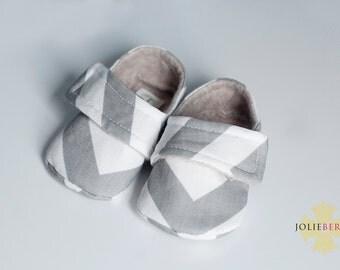 NATE Gray Chevron Baby Boy Shoes. Grey chevron