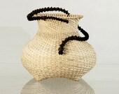 """Woven basket, wicker basket, Natural color basket, contemporary basket, """"Eve and the snake"""", Natural reed spiral basket"""