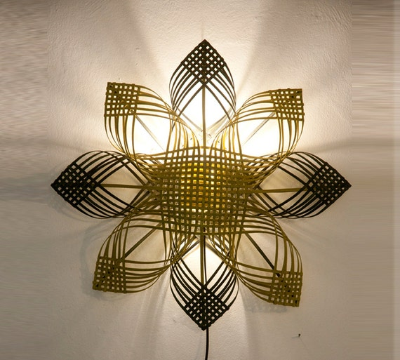 "Statement handmade wall décor lighting, housewarming gift, cool  colors - ""Shining star"""