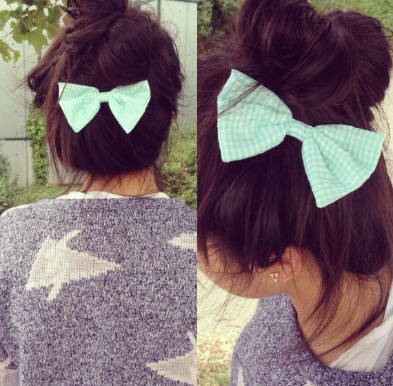 Mint Gingham Big Bow Hair Clip On