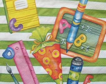 Back to School, striped picture for kids, Paper napkin for decoupage