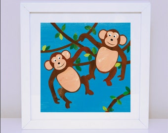 Art Print for Kids, Kids bedroom or Nursery wall art, Bedroom Decor: Cheeky Monkeys