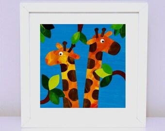 Art Print for Kids, Kids bedroom art, Nursery wall art, Bedroom Decor: Curious Giraffes
