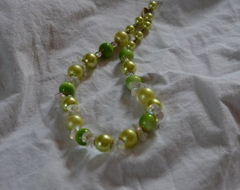 Vintage small lime light Green, Cream and crystal necklace, Odd/Strange, very 70s 80s