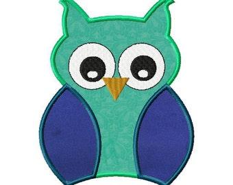 INSTANT DOWNLOAD Owl Machine Applique Embroidery Design