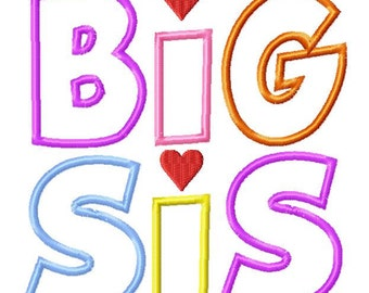 INSTANT DOWNLOAD Lil Sis and Big Sis Multi Pack Machine Applique Embroidery Design